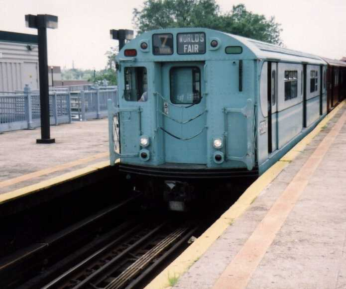 (33k, 695x581)<br><b>Country:</b> United States<br><b>City:</b> New York<br><b>System:</b> New York City Transit<br><b>Line:</b> IRT Flushing Line<br><b>Location:</b> Willets Point/Mets (fmr. Shea Stadium) <br><b>Route:</b> Fan Trip<br><b>Car:</b> R-33 World's Fair (St. Louis, 1963-64) 9306 <br><b>Photo by:</b> Gary Chatterton<br><b>Date:</b> 6/18/2004<br><b>Viewed (this week/total):</b> 0 / 2805