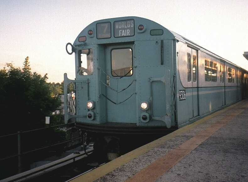 (35k, 790x581)<br><b>Country:</b> United States<br><b>City:</b> New York<br><b>System:</b> New York City Transit<br><b>Line:</b> IRT Flushing Line<br><b>Location:</b> Junction Boulevard <br><b>Route:</b> Fan Trip<br><b>Car:</b> R-33 World's Fair (St. Louis, 1963-64) 9306 <br><b>Photo by:</b> Gary Chatterton<br><b>Date:</b> 6/19/2004<br><b>Notes:</b> Note Identra coil by motorman's cab<br><b>Viewed (this week/total):</b> 0 / 2947