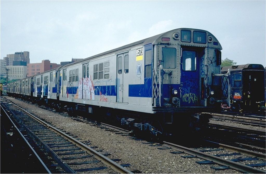 (231k, 1024x670)<br><b>Country:</b> United States<br><b>City:</b> New York<br><b>System:</b> New York City Transit<br><b>Location:</b> Westchester Yard<br><b>Car:</b> R-29 (St. Louis, 1962) 8573 <br><b>Photo by:</b> Steve Zabel<br><b>Collection of:</b> Joe Testagrose<br><b>Date:</b> 6/6/1981<br><b>Viewed (this week/total):</b> 0 / 4434