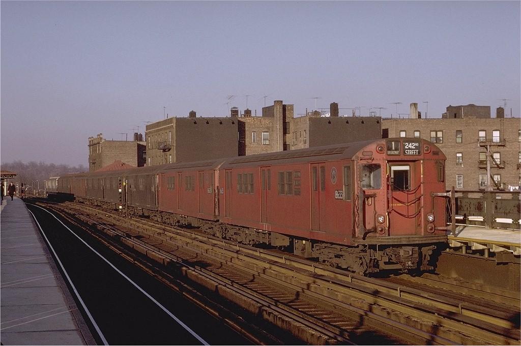 (205k, 1024x681)<br><b>Country:</b> United States<br><b>City:</b> New York<br><b>System:</b> New York City Transit<br><b>Line:</b> IRT West Side Line<br><b>Location:</b> 238th Street <br><b>Route:</b> 1<br><b>Car:</b> R-29 (St. Louis, 1962) 8633 <br><b>Photo by:</b> Joe Testagrose<br><b>Date:</b> 2/6/1971<br><b>Viewed (this week/total):</b> 2 / 2133