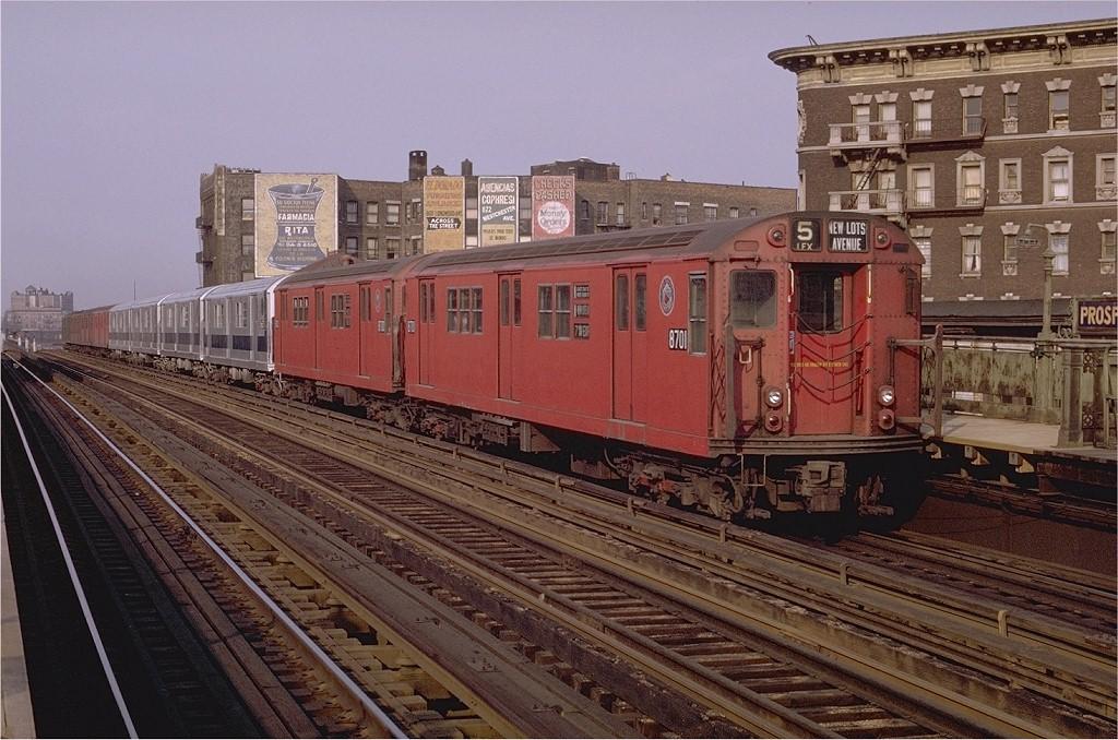 (226k, 1024x678)<br><b>Country:</b> United States<br><b>City:</b> New York<br><b>System:</b> New York City Transit<br><b>Line:</b> IRT White Plains Road Line<br><b>Location:</b> Prospect Avenue <br><b>Route:</b> 5<br><b>Car:</b> R-29 (St. Louis, 1962) 8701 <br><b>Photo by:</b> Joe Testagrose<br><b>Date:</b> 5/9/1970<br><b>Viewed (this week/total):</b> 2 / 1943