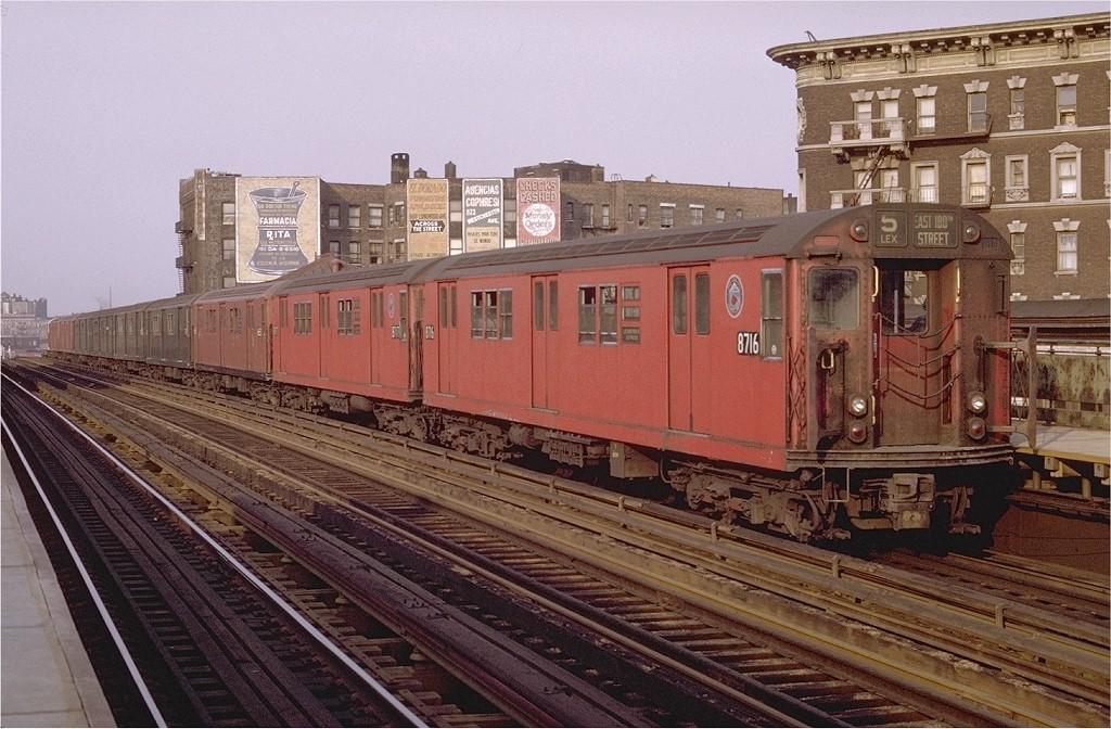 (224k, 1024x672)<br><b>Country:</b> United States<br><b>City:</b> New York<br><b>System:</b> New York City Transit<br><b>Line:</b> IRT White Plains Road Line<br><b>Location:</b> Prospect Avenue <br><b>Route:</b> 5<br><b>Car:</b> R-29 (St. Louis, 1962) 8716 <br><b>Photo by:</b> Joe Testagrose<br><b>Date:</b> 5/9/1970<br><b>Viewed (this week/total):</b> 2 / 2721