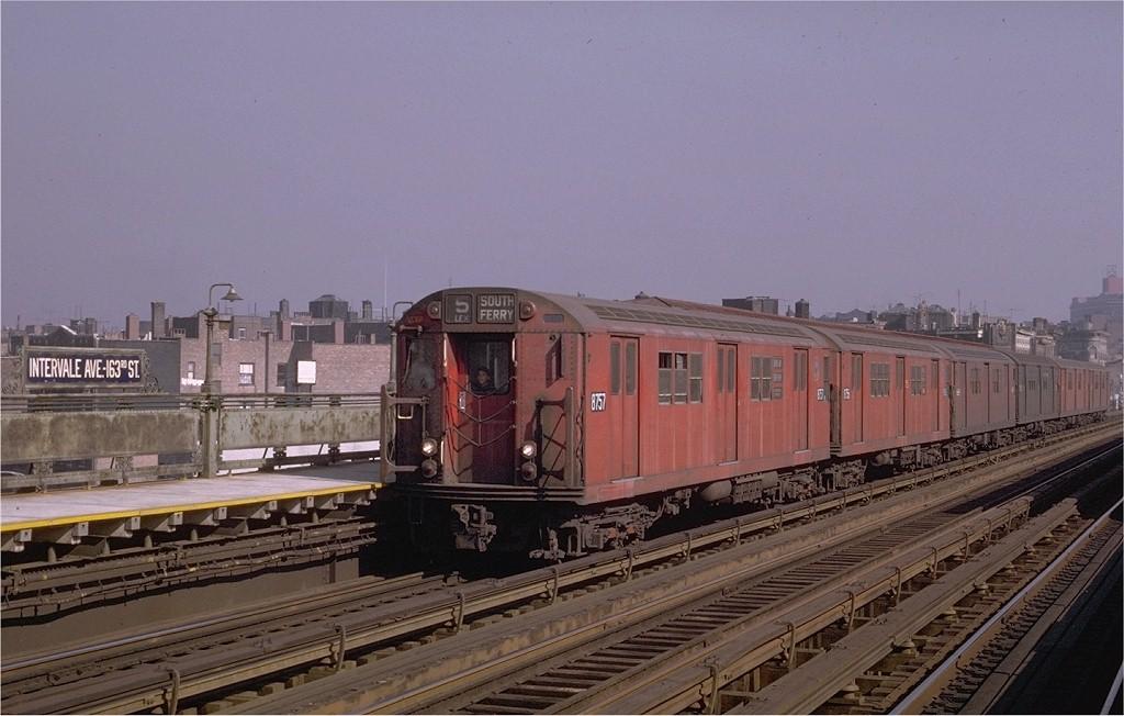 (170k, 1024x652)<br><b>Country:</b> United States<br><b>City:</b> New York<br><b>System:</b> New York City Transit<br><b>Line:</b> IRT White Plains Road Line<br><b>Location:</b> Intervale Avenue <br><b>Route:</b> 5<br><b>Car:</b> R-29 (St. Louis, 1962) 8757 <br><b>Photo by:</b> Joe Testagrose<br><b>Date:</b> 10/26/1969<br><b>Viewed (this week/total):</b> 0 / 2819