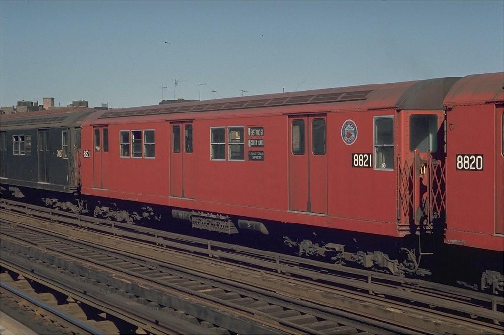 (178k, 1024x682)<br><b>Country:</b> United States<br><b>City:</b> New York<br><b>System:</b> New York City Transit<br><b>Line:</b> IRT White Plains Road Line<br><b>Location:</b> Intervale Avenue <br><b>Route:</b> 5<br><b>Car:</b> R-33 Main Line (St. Louis, 1962-63) 8821 <br><b>Photo by:</b> Joe Testagrose<br><b>Date:</b> 5/30/1970<br><b>Viewed (this week/total):</b> 1 / 3560