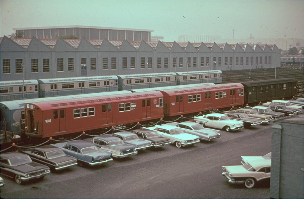 (163k, 1024x672)<br><b>Country:</b> United States<br><b>City:</b> New York<br><b>System:</b> New York City Transit<br><b>Location:</b> Corona Yard<br><b>Car:</b> R-33 Main Line (St. Louis, 1962-63) 9005 <br><b>Collection of:</b> Joe Testagrose<br><b>Date:</b> 6/1964<br><b>Viewed (this week/total):</b> 0 / 4200