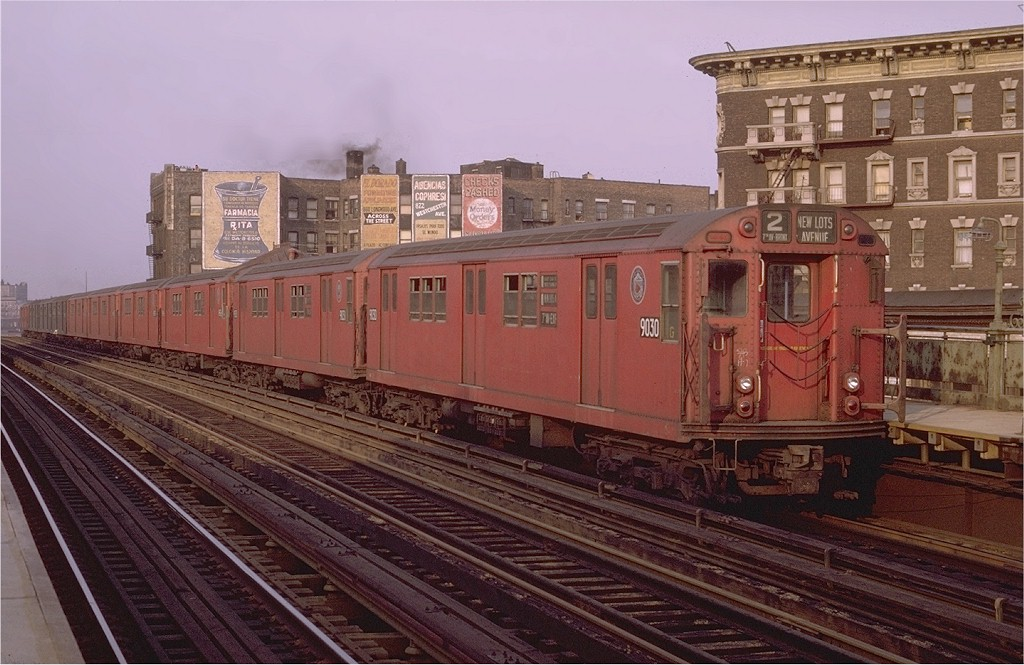 (198k, 1024x665)<br><b>Country:</b> United States<br><b>City:</b> New York<br><b>System:</b> New York City Transit<br><b>Line:</b> IRT White Plains Road Line<br><b>Location:</b> Prospect Avenue <br><b>Route:</b> 2<br><b>Car:</b> R-33 Main Line (St. Louis, 1962-63) 9030 <br><b>Photo by:</b> Joe Testagrose<br><b>Date:</b> 5/9/1970<br><b>Viewed (this week/total):</b> 0 / 2763