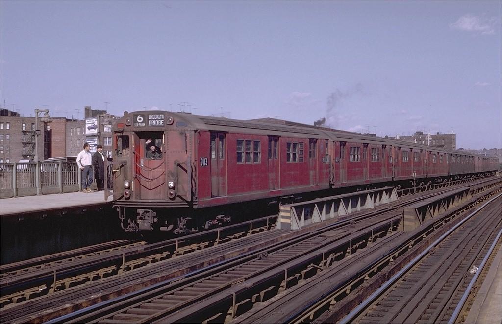 (191k, 1024x662)<br><b>Country:</b> United States<br><b>City:</b> New York<br><b>System:</b> New York City Transit<br><b>Line:</b> IRT Pelham Line<br><b>Location:</b> Whitlock Avenue <br><b>Route:</b> 6<br><b>Car:</b> R-33 Main Line (St. Louis, 1962-63) 9113 <br><b>Collection of:</b> Joe Testagrose<br><b>Viewed (this week/total):</b> 1 / 2677