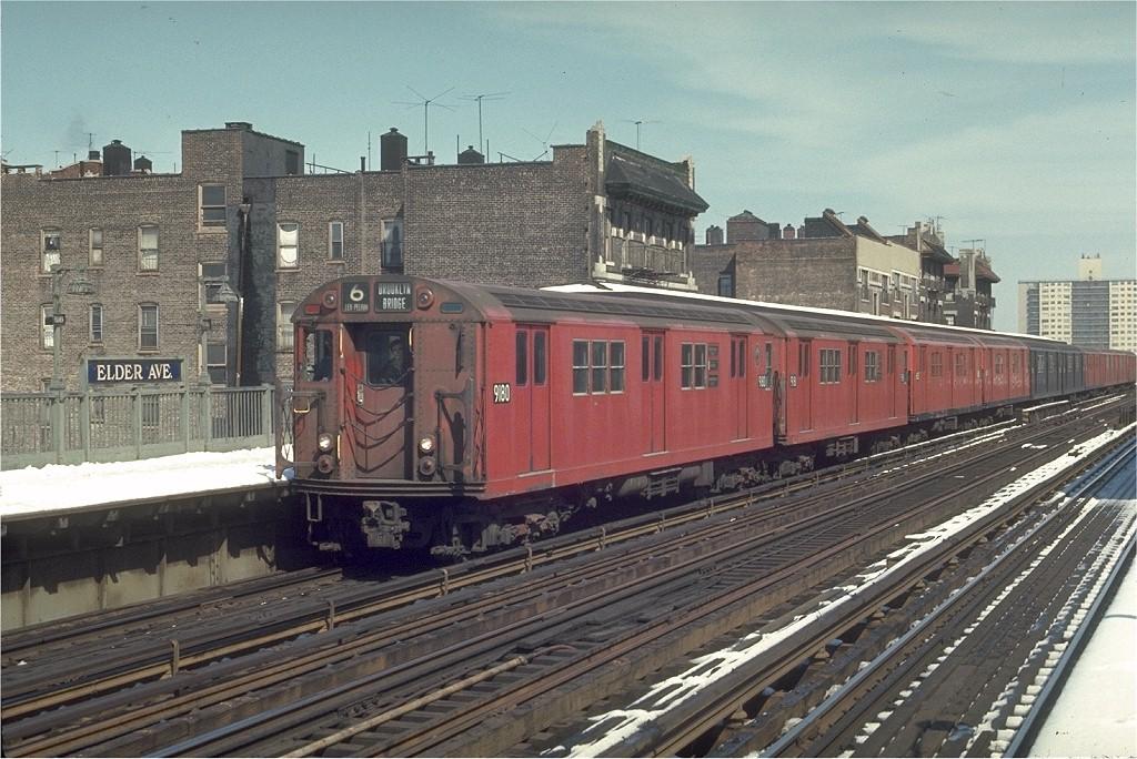 (233k, 1024x684)<br><b>Country:</b> United States<br><b>City:</b> New York<br><b>System:</b> New York City Transit<br><b>Line:</b> IRT Pelham Line<br><b>Location:</b> Elder Avenue <br><b>Route:</b> 6<br><b>Car:</b> R-33 Main Line (St. Louis, 1962-63) 9180 <br><b>Photo by:</b> Joe Testagrose<br><b>Date:</b> 3/30/1970<br><b>Viewed (this week/total):</b> 0 / 2930