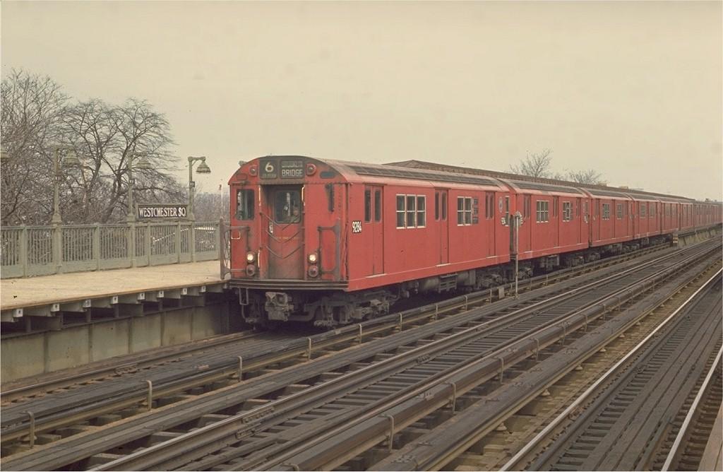 (164k, 1024x668)<br><b>Country:</b> United States<br><b>City:</b> New York<br><b>System:</b> New York City Transit<br><b>Line:</b> IRT Pelham Line<br><b>Location:</b> Westchester Square <br><b>Route:</b> 6<br><b>Car:</b> R-33 Main Line (St. Louis, 1962-63) 9284 <br><b>Photo by:</b> Joe Testagrose<br><b>Date:</b> 3/28/1970<br><b>Viewed (this week/total):</b> 1 / 3105