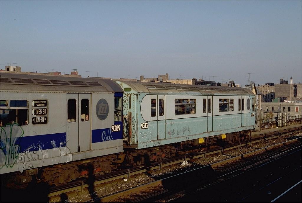 (197k, 1024x688)<br><b>Country:</b> United States<br><b>City:</b> New York<br><b>System:</b> New York City Transit<br><b>Line:</b> IRT Flushing Line<br><b>Location:</b> 40th Street/Lowery Street <br><b>Route:</b> 7<br><b>Car:</b> R-33 World's Fair (St. Louis, 1963-64) 9313 <br><b>Photo by:</b> Steve Zabel<br><b>Collection of:</b> Joe Testagrose<br><b>Date:</b> 11/2/1981<br><b>Viewed (this week/total):</b> 0 / 3052