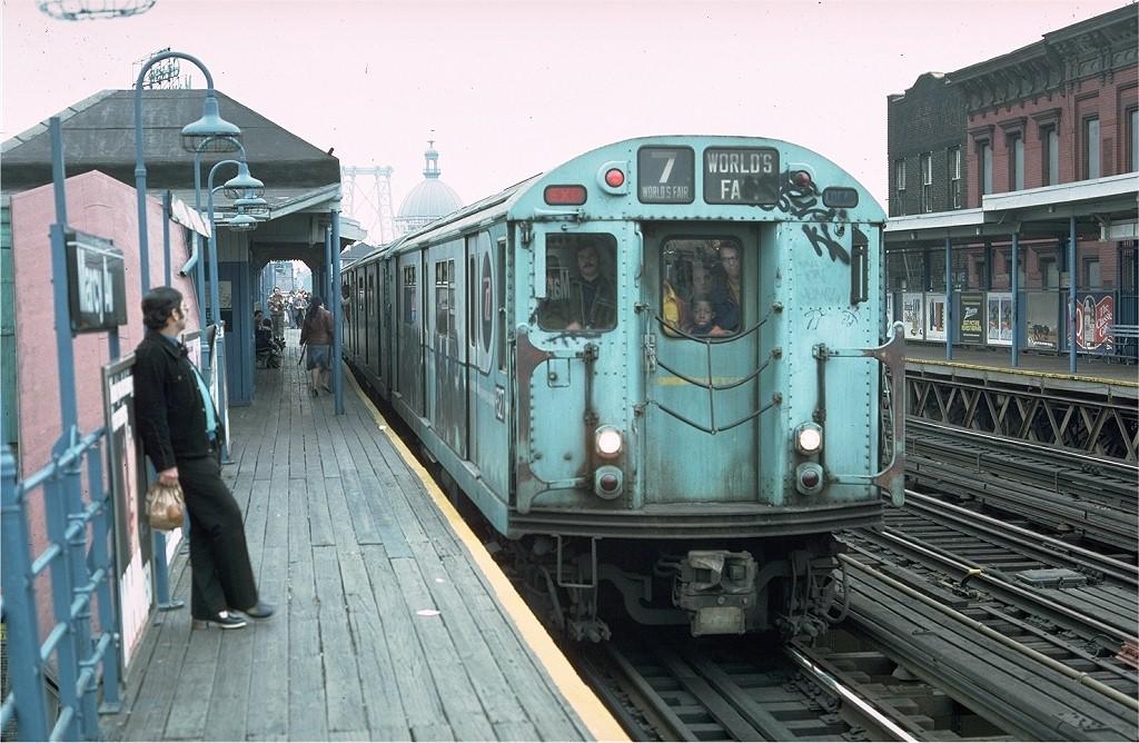 (219k, 1024x668)<br><b>Country:</b> United States<br><b>City:</b> New York<br><b>System:</b> New York City Transit<br><b>Line:</b> BMT Nassau Street/Jamaica Line<br><b>Location:</b> Marcy Avenue <br><b>Route:</b> Fan Trip<br><b>Car:</b> R-33 World's Fair (St. Louis, 1963-64) 9327 <br><b>Photo by:</b> Doug Grotjahn<br><b>Collection of:</b> Joe Testagrose<br><b>Date:</b> 11/27/1976<br><b>Viewed (this week/total):</b> 1 / 3447