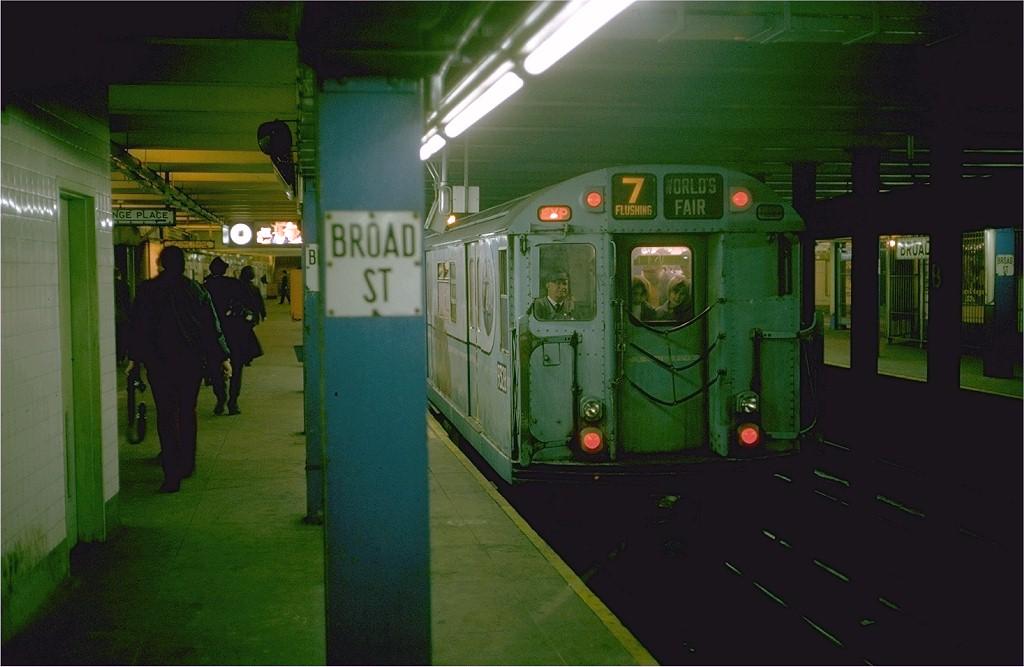(151k, 1024x667)<br><b>Country:</b> United States<br><b>City:</b> New York<br><b>System:</b> New York City Transit<br><b>Line:</b> BMT Nassau Street/Jamaica Line<br><b>Location:</b> Broad Street <br><b>Route:</b> Fan Trip<br><b>Car:</b> R-33 World's Fair (St. Louis, 1963-64) 9328 <br><b>Photo by:</b> Steve Zabel<br><b>Collection of:</b> Joe Testagrose<br><b>Date:</b> 10/27/1974<br><b>Viewed (this week/total):</b> 0 / 4744