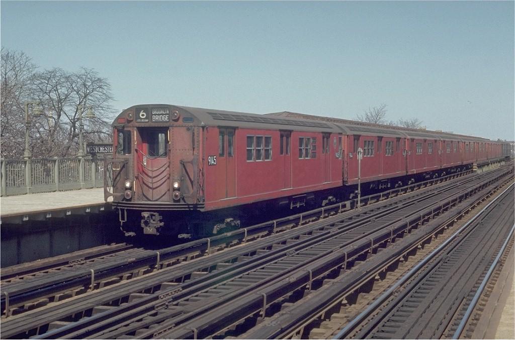 (198k, 1024x677)<br><b>Country:</b> United States<br><b>City:</b> New York<br><b>System:</b> New York City Transit<br><b>Line:</b> IRT Pelham Line<br><b>Location:</b> Westchester Square <br><b>Route:</b> 6<br><b>Car:</b> R-33 Main Line (St. Louis, 1962-63) 9145 <br><b>Photo by:</b> Joe Testagrose<br><b>Date:</b> 4/12/1970<br><b>Viewed (this week/total):</b> 0 / 2894
