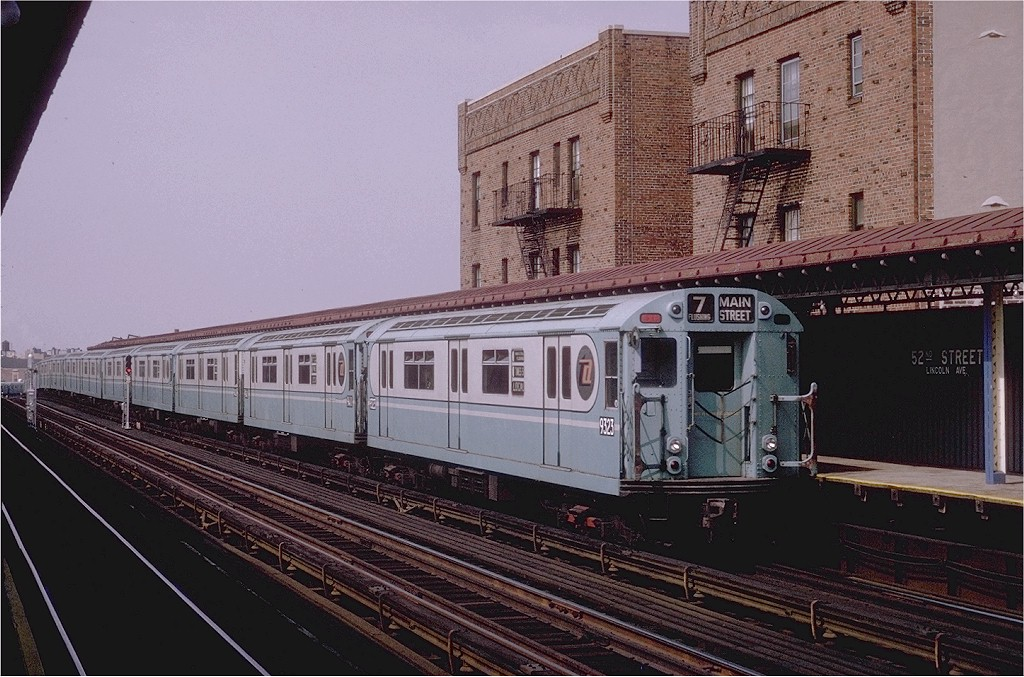 (217k, 1024x677)<br><b>Country:</b> United States<br><b>City:</b> New York<br><b>System:</b> New York City Transit<br><b>Line:</b> IRT Flushing Line<br><b>Location:</b> 52nd Street/Lincoln Avenue <br><b>Route:</b> 7<br><b>Car:</b> R-33 World's Fair (St. Louis, 1963-64) 9323 <br><b>Photo by:</b> Joe Testagrose<br><b>Date:</b> 9/5/1970<br><b>Viewed (this week/total):</b> 2 / 2556