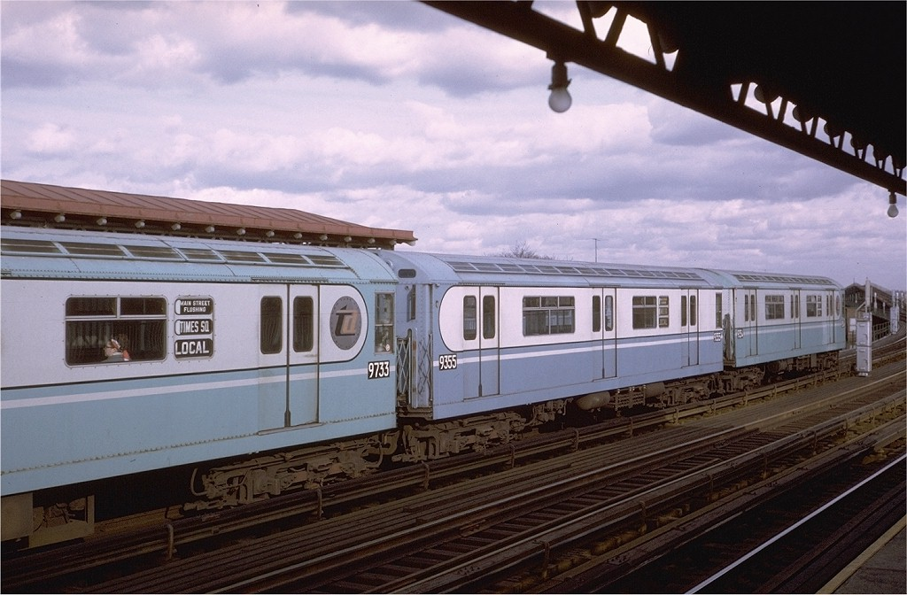 (179k, 1024x672)<br><b>Country:</b> United States<br><b>City:</b> New York<br><b>System:</b> New York City Transit<br><b>Line:</b> IRT Flushing Line<br><b>Location:</b> 103rd Street/Corona Plaza <br><b>Route:</b> 7<br><b>Car:</b> R-36 World's Fair (St. Louis, 1963-64) 9355 <br><b>Photo by:</b> Steve Zabel<br><b>Collection of:</b> Joe Testagrose<br><b>Date:</b> 12/6/1970<br><b>Viewed (this week/total):</b> 0 / 4112