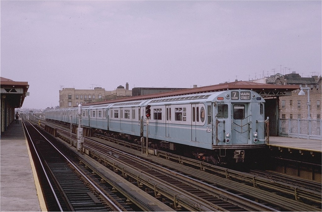 (196k, 1024x675)<br><b>Country:</b> United States<br><b>City:</b> New York<br><b>System:</b> New York City Transit<br><b>Line:</b> IRT Flushing Line<br><b>Location:</b> 90th Street/Elmhurst Avenue <br><b>Route:</b> 7<br><b>Car:</b> R-36 World's Fair (St. Louis, 1963-64) 9365 <br><b>Photo by:</b> Joe Testagrose<br><b>Date:</b> 9/5/1970<br><b>Viewed (this week/total):</b> 2 / 3917