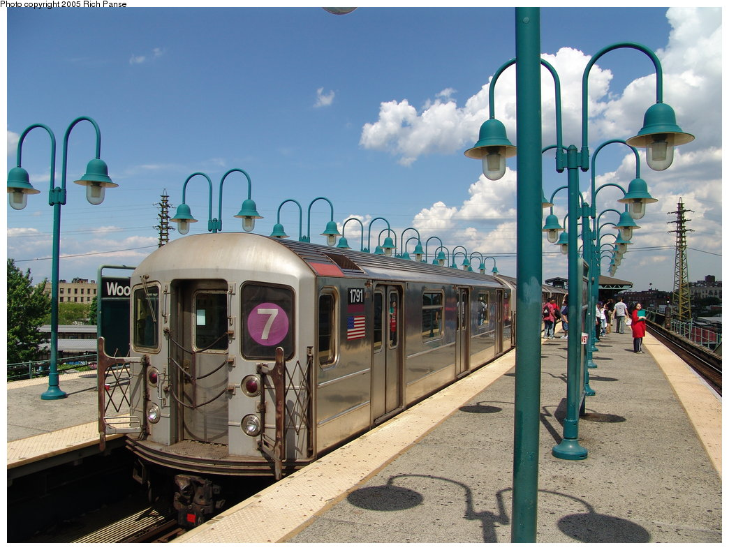 (213k, 1044x788)<br><b>Country:</b> United States<br><b>City:</b> New York<br><b>System:</b> New York City Transit<br><b>Line:</b> IRT Flushing Line<br><b>Location:</b> 61st Street/Woodside <br><b>Route:</b> 7<br><b>Car:</b> R-62A (Bombardier, 1984-1987)  1791 <br><b>Photo by:</b> Richard Panse<br><b>Date:</b> 5/30/2005<br><b>Viewed (this week/total):</b> 2 / 4456