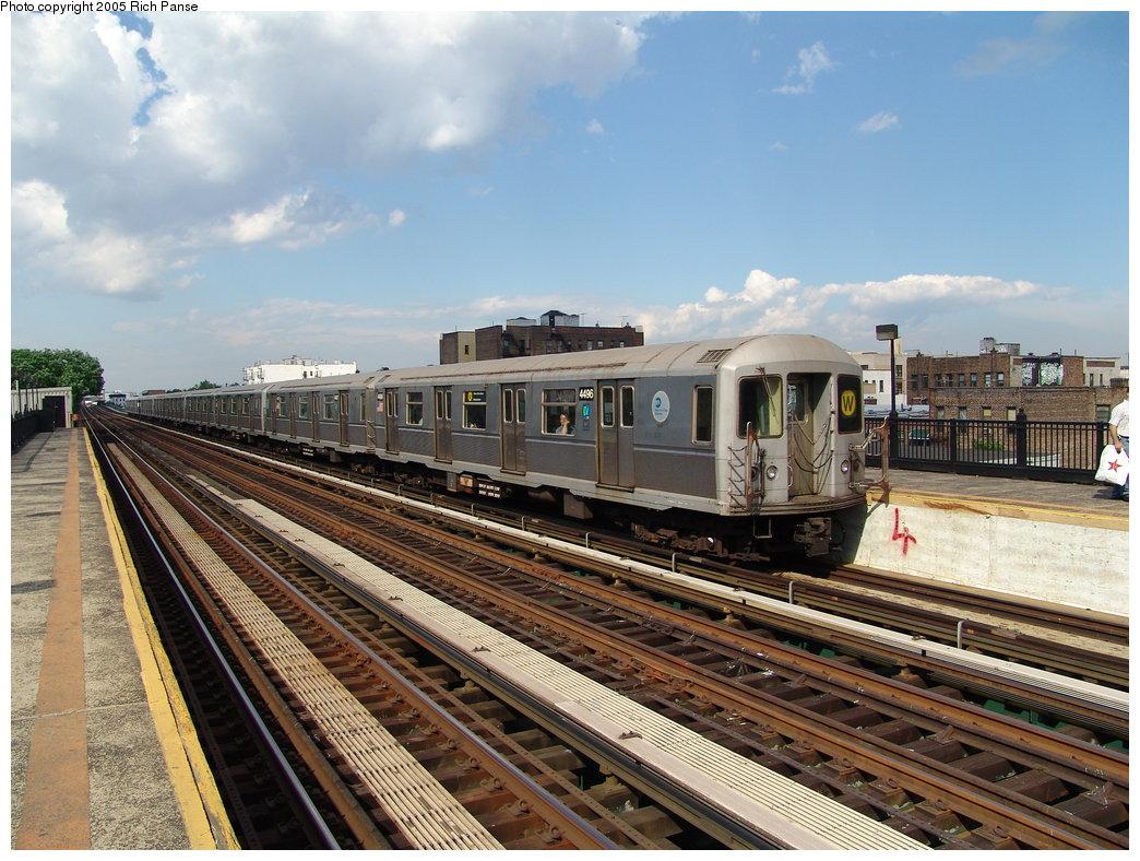 (220k, 1044x788)<br><b>Country:</b> United States<br><b>City:</b> New York<br><b>System:</b> New York City Transit<br><b>Line:</b> BMT Astoria Line<br><b>Location:</b> 36th/Washington Aves. <br><b>Route:</b> W<br><b>Car:</b> R-40M (St. Louis, 1969)  4496 <br><b>Photo by:</b> Richard Panse<br><b>Date:</b> 5/30/2005<br><b>Viewed (this week/total):</b> 3 / 3683