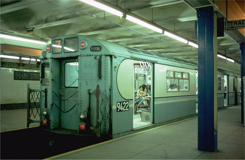 (166k, 1024x671)<br><b>Country:</b> United States<br><b>City:</b> New York<br><b>System:</b> New York City Transit<br><b>Line:</b> IRT Flushing Line<br><b>Location:</b> Main Street/Flushing <br><b>Route:</b> 7<br><b>Car:</b> R-36 World's Fair (St. Louis, 1963-64) 9422 <br><b>Photo by:</b> Doug Grotjahn<br><b>Collection of:</b> Joe Testagrose<br><b>Date:</b> 7/8/1979<br><b>Viewed (this week/total):</b> 2 / 5993