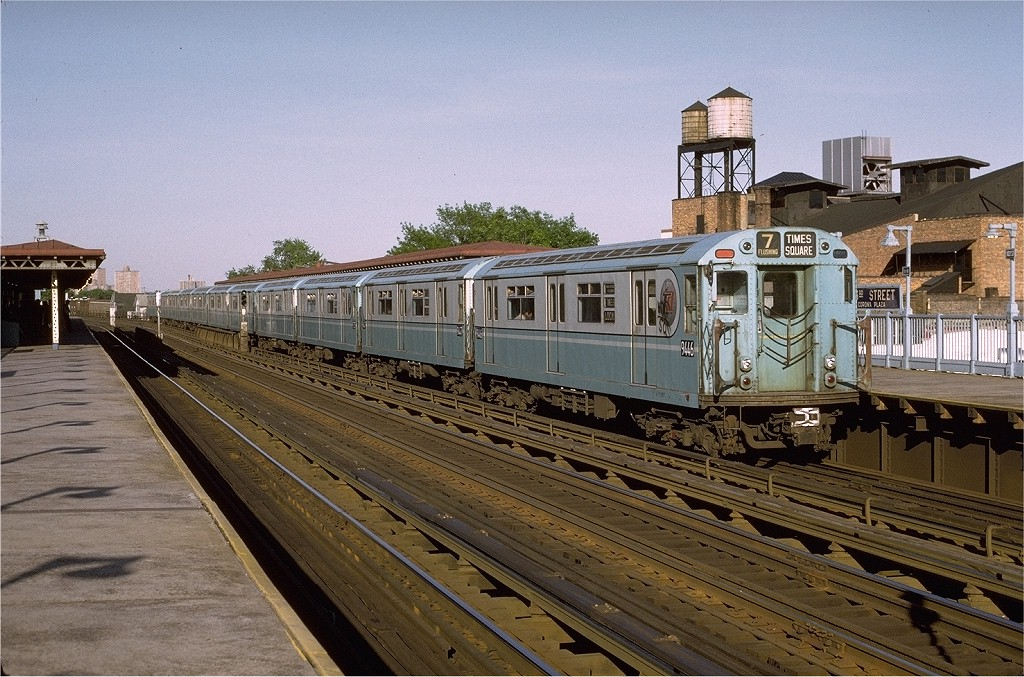 (241k, 1024x677)<br><b>Country:</b> United States<br><b>City:</b> New York<br><b>System:</b> New York City Transit<br><b>Line:</b> IRT Flushing Line<br><b>Location:</b> 103rd Street/Corona Plaza <br><b>Route:</b> 7<br><b>Car:</b> R-36 World's Fair (St. Louis, 1963-64) 9446 <br><b>Photo by:</b> Joe Testagrose<br><b>Date:</b> 5/26/1972<br><b>Viewed (this week/total):</b> 1 / 3001