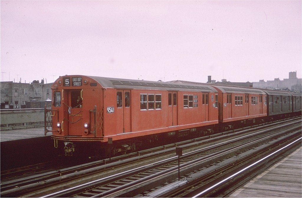 (168k, 1024x674)<br><b>Country:</b> United States<br><b>City:</b> New York<br><b>System:</b> New York City Transit<br><b>Line:</b> IRT White Plains Road Line<br><b>Location:</b> Intervale Avenue <br><b>Route:</b> 5<br><b>Car:</b> R-36 Main Line (St. Louis, 1964) 9541 <br><b>Photo by:</b> Doug Grotjahn<br><b>Collection of:</b> Joe Testagrose<br><b>Date:</b> 5/1/1965<br><b>Viewed (this week/total):</b> 0 / 3724