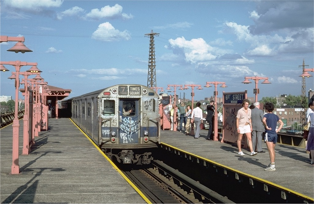 (207k, 1024x666)<br><b>Country:</b> United States<br><b>City:</b> New York<br><b>System:</b> New York City Transit<br><b>Line:</b> IRT Flushing Line<br><b>Location:</b> 61st Street/Woodside <br><b>Route:</b> 7<br><b>Car:</b> R-36 World's Fair (St. Louis, 1963-64) 9560 <br><b>Photo by:</b> Steve Zabel<br><b>Collection of:</b> Joe Testagrose<br><b>Date:</b> 8/5/1981<br><b>Viewed (this week/total):</b> 6 / 4864