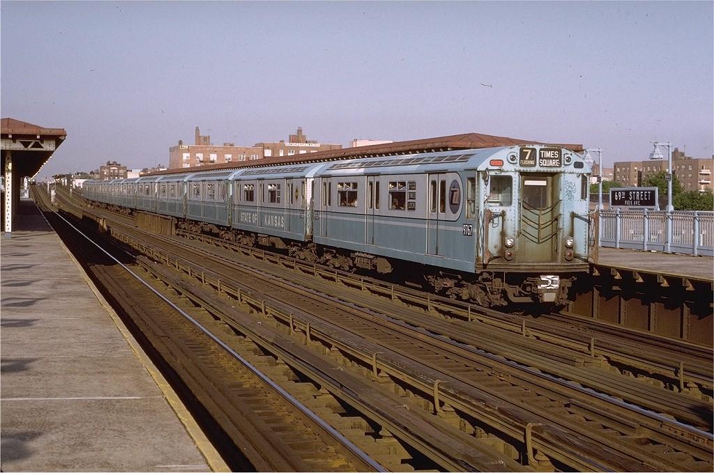 (240k, 1024x679)<br><b>Country:</b> United States<br><b>City:</b> New York<br><b>System:</b> New York City Transit<br><b>Line:</b> IRT Flushing Line<br><b>Location:</b> 69th Street/Fisk Avenue <br><b>Route:</b> 7<br><b>Car:</b> R-36 World's Fair (St. Louis, 1963-64) 9767 <br><b>Photo by:</b> Joe Testagrose<br><b>Date:</b> 5/24/1972<br><b>Viewed (this week/total):</b> 2 / 2488