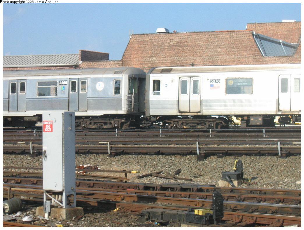 (190k, 1044x788)<br><b>Country:</b> United States<br><b>City:</b> New York<br><b>System:</b> New York City Transit<br><b>Location:</b> Coney Island Yard<br><b>Car:</b> R-68A (Kawasaki, 1988-1989)  5076 <br><b>Photo by:</b> Professor J<br><b>Date:</b> 6/5/2005<br><b>Notes:</b> Unusual lashup R40M 4466 & R68A 5076 at Coney Island Yard by the car wash.<br><b>Viewed (this week/total):</b> 0 / 4378