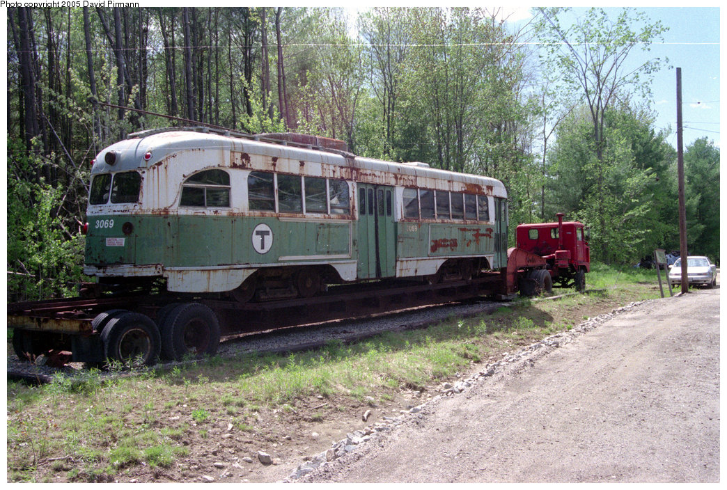 (311k, 1044x704)<br><b>Country:</b> United States<br><b>City:</b> Kennebunk, ME<br><b>System:</b> Seashore Trolley Museum <br><b>Car:</b> MBTA/BSRy PCC Wartime (Pullman-Standard, 1944)  3069 <br><b>Photo by:</b> David Pirmann<br><b>Date:</b> 5/25/1996<br><b>Viewed (this week/total):</b> 0 / 2693