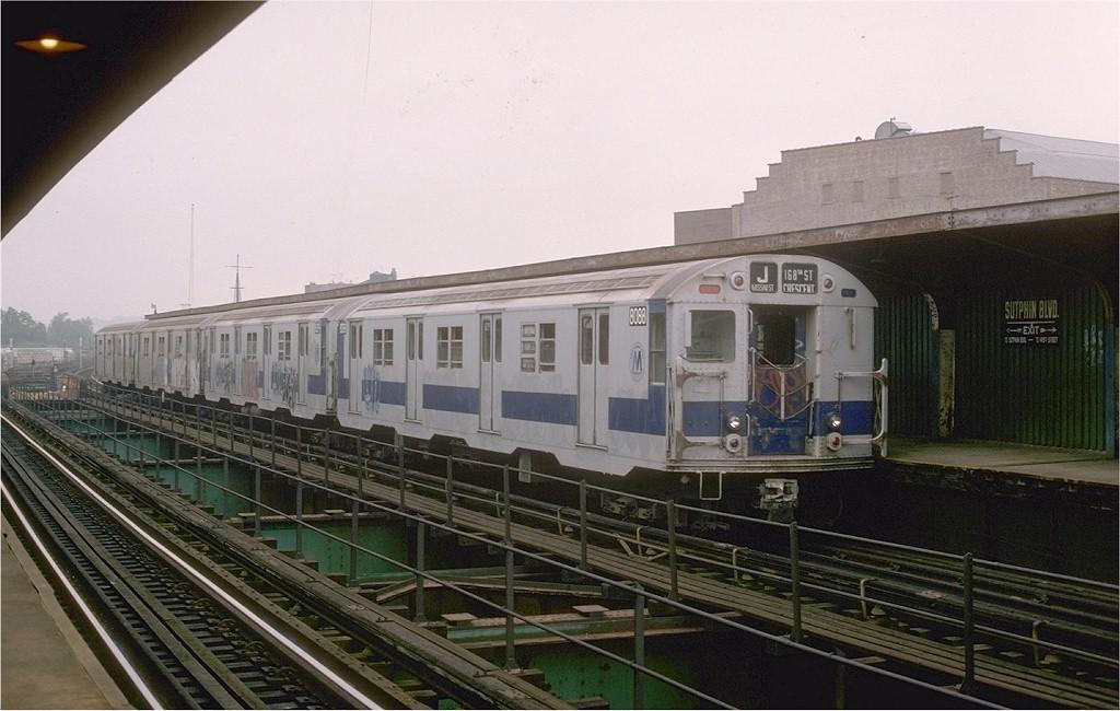 (180k, 1024x650)<br><b>Country:</b> United States<br><b>City:</b> New York<br><b>System:</b> New York City Transit<br><b>Line:</b> BMT Nassau Street/Jamaica Line<br><b>Location:</b> Sutphin Boulevard (Demolished) <br><b>Route:</b> J<br><b>Car:</b> R-27 (St. Louis, 1960)  8088 <br><b>Photo by:</b> Joe Testagrose<br><b>Date:</b> 9/6/1977<br><b>Viewed (this week/total):</b> 2 / 4978