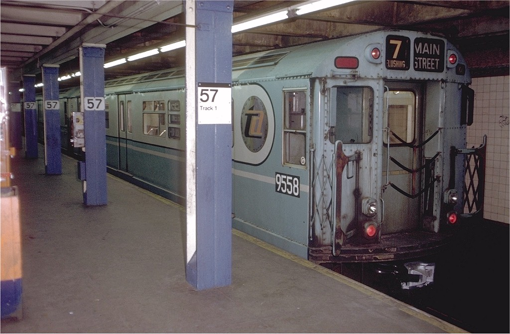 (185k, 1024x671)<br><b>Country:</b> United States<br><b>City:</b> New York<br><b>System:</b> New York City Transit<br><b>Line:</b> BMT Broadway Line<br><b>Location:</b> 57th Street <br><b>Route:</b> Fan Trip<br><b>Car:</b> R-36 World's Fair (St. Louis, 1963-64) 9558 <br><b>Photo by:</b> Doug Grotjahn<br><b>Collection of:</b> Joe Testagrose<br><b>Date:</b> 12/3/1971<br><b>Viewed (this week/total):</b> 0 / 3311