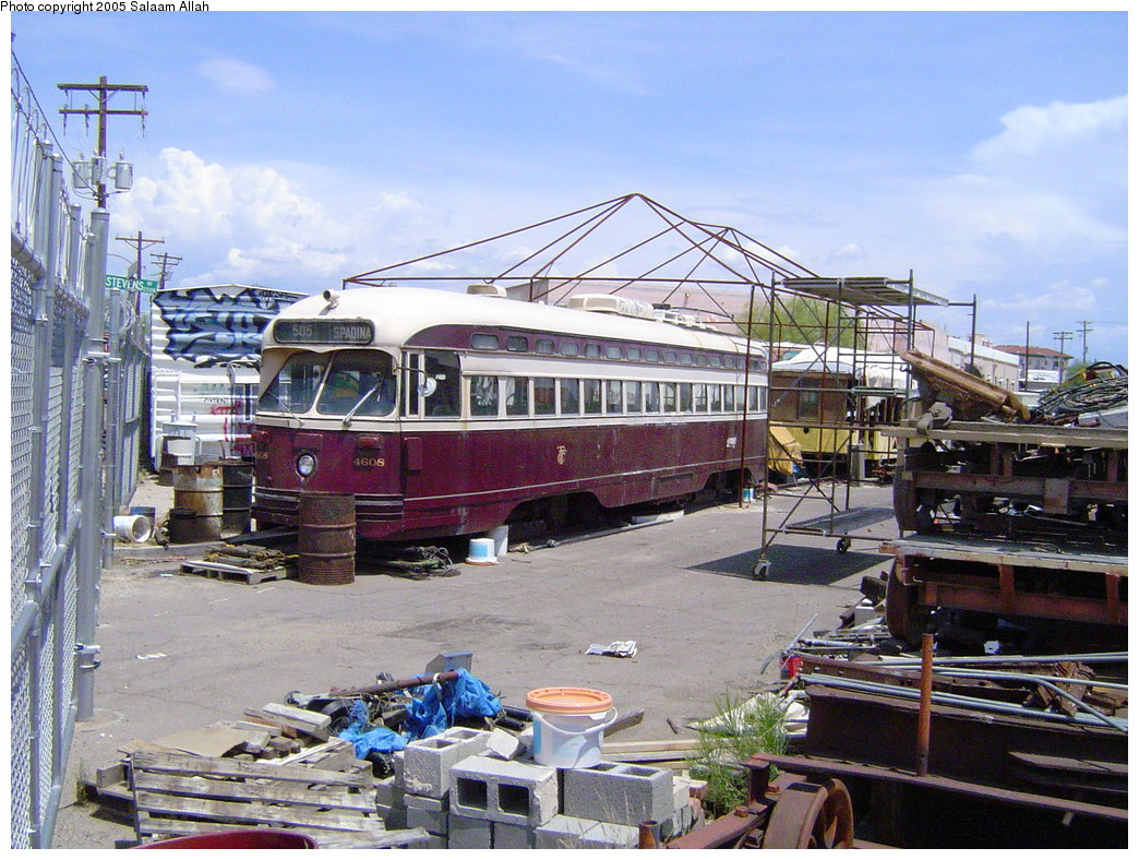 (229k, 1044x788)<br><b>Country:</b> United States<br><b>City:</b> Tucson, AZ<br><b>System:</b> Old Pueblo Trolley<br><b>Location:</b> Old Pueblo Trolley Carbarn/Yard <br><b>Car:</b> PCC (TTC Toronto) 4608 <br><b>Photo by:</b> Salaam Allah<br><b>Date:</b> 5/28/2005<br><b>Viewed (this week/total):</b> 0 / 3158