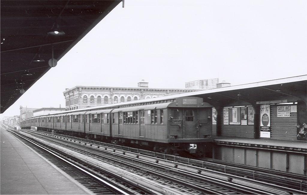 (183k, 1024x650)<br><b>Country:</b> United States<br><b>City:</b> New York<br><b>System:</b> New York City Transit<br><b>Line:</b> BMT Nassau Street/Jamaica Line<br><b>Location:</b> Gates Avenue <br><b>Car:</b> BMT D-Type Triplex  <br><b>Photo by:</b> Hal Smith Collection<br><b>Collection of:</b> Joe Testagrose<br><b>Date:</b> 10/23/1962<br><b>Viewed (this week/total):</b> 2 / 3936