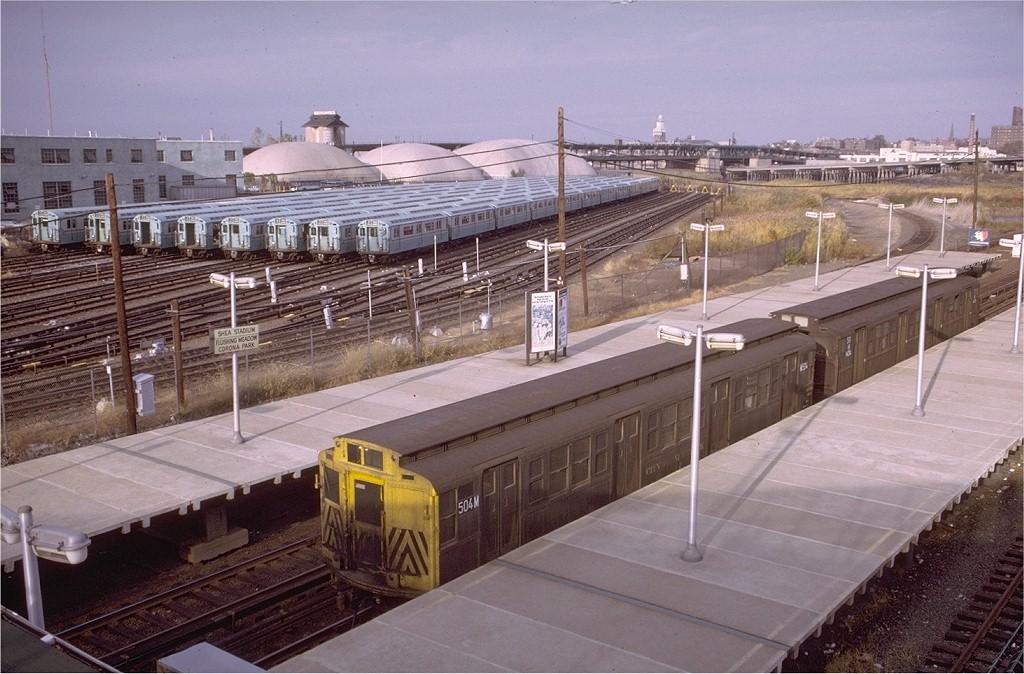 (208k, 1024x674)<br><b>Country:</b> United States<br><b>System:</b> Long Island Rail Road<br><b>Line:</b> LIRR Port Washington<br><b>Location:</b> Shea Stadium <br><b>Car:</b> R-4 (American Car & Foundry, 1932-1933) M504 (ex-466)<br><b>Photo by:</b> Doug Grotjahn<br><b>Collection of:</b> Joe Testagrose<br><b>Date:</b> 10/31/1972<br><b>Viewed (this week/total):</b> 3 / 5353