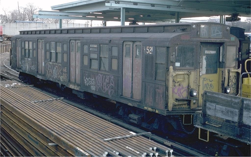 (211k, 1024x640)<br><b>Country:</b> United States<br><b>City:</b> New York<br><b>System:</b> New York City Transit<br><b>Location:</b> 36th Street Yard<br><b>Car:</b> R-1 (American Car & Foundry, 1930-1931) M521 (ex-377)<br><b>Photo by:</b> Doug Grotjahn<br><b>Collection of:</b> Joe Testagrose<br><b>Date:</b> 12/14/1980<br><b>Viewed (this week/total):</b> 5 / 3364