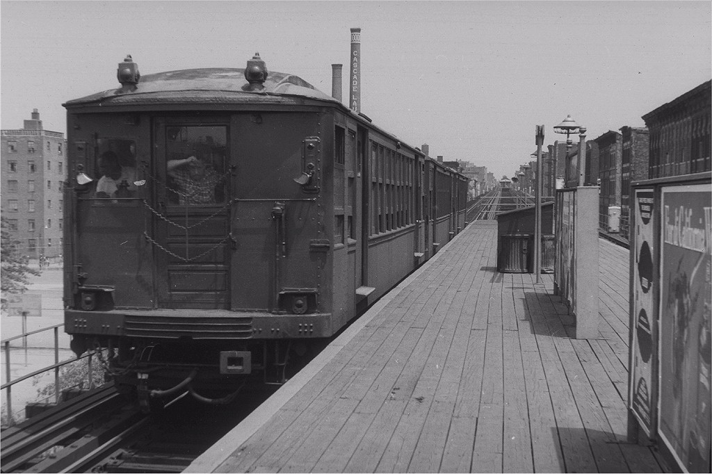 (175k, 1024x682)<br><b>Country:</b> United States<br><b>City:</b> New York<br><b>System:</b> New York City Transit<br><b>Line:</b> BMT Myrtle Avenue Line<br><b>Location:</b> Nostrand Avenue <br><b>Route:</b> MJ<br><b>Car:</b> BMT Q  <br><b>Photo by:</b> Harry Pinsker<br><b>Date:</b> 6/30/1959<br><b>Viewed (this week/total):</b> 7 / 4798