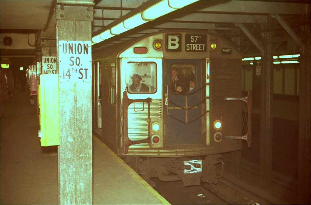 (178k, 1024x675)<br><b>Country:</b> United States<br><b>City:</b> New York<br><b>System:</b> New York City Transit<br><b>Line:</b> BMT Broadway Line<br><b>Location:</b> 14th Street/Union Square <br><b>Route:</b> B<br><b>Car:</b> R-32 (Budd, 1964)   <br><b>Photo by:</b> Steve Zabel<br><b>Collection of:</b> Joe Testagrose<br><b>Viewed (this week/total):</b> 2 / 4666