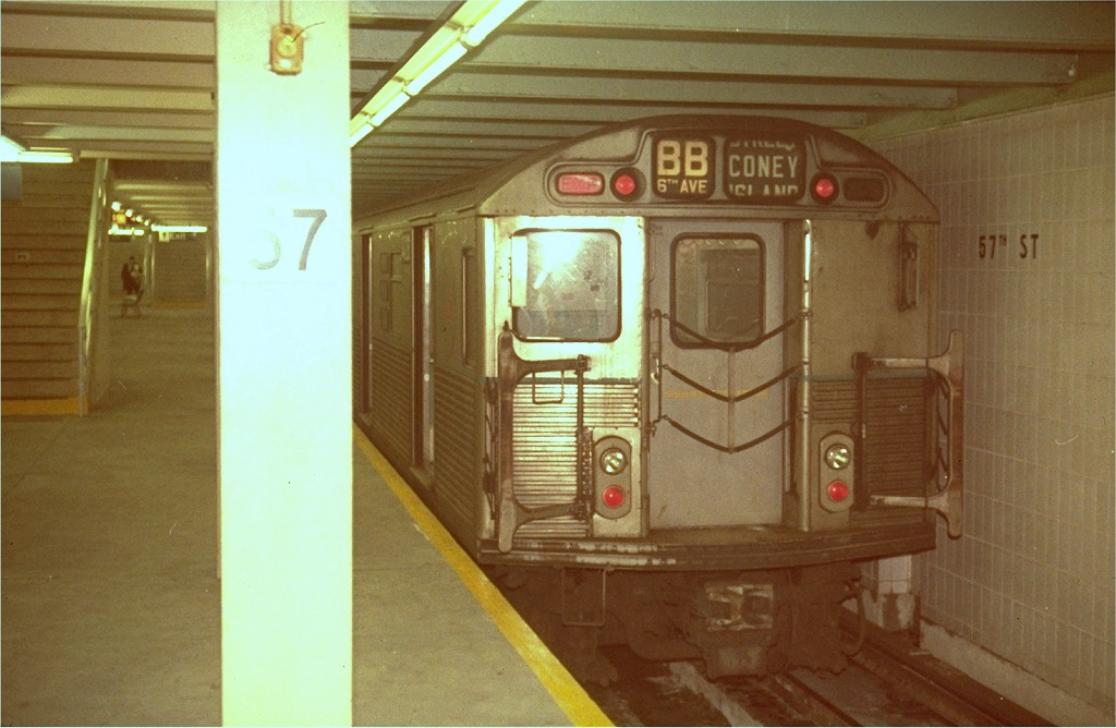 (154k, 1024x668)<br><b>Country:</b> United States<br><b>City:</b> New York<br><b>System:</b> New York City Transit<br><b>Line:</b> IND 6th Avenue Line<br><b>Location:</b> 57th Street <br><b>Route:</b> B<br><b>Car:</b> R-38 (St. Louis, 1966-1967)   <br><b>Photo by:</b> Steve Zabel<br><b>Collection of:</b> Joe Testagrose<br><b>Viewed (this week/total):</b> 1 / 3863