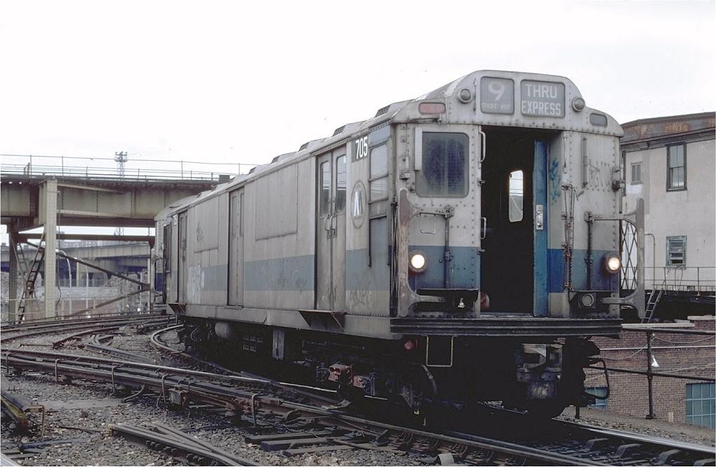 (178k, 1024x668)<br><b>Country:</b> United States<br><b>City:</b> New York<br><b>System:</b> New York City Transit<br><b>Location:</b> East New York Yard/Shops<br><b>Car:</b> R-12 (American Car & Foundry, 1948) R705 (ex-5759)<br><b>Photo by:</b> Steve Zabel<br><b>Collection of:</b> Joe Testagrose<br><b>Date:</b> 12/15/1981<br><b>Viewed (this week/total):</b> 0 / 3446