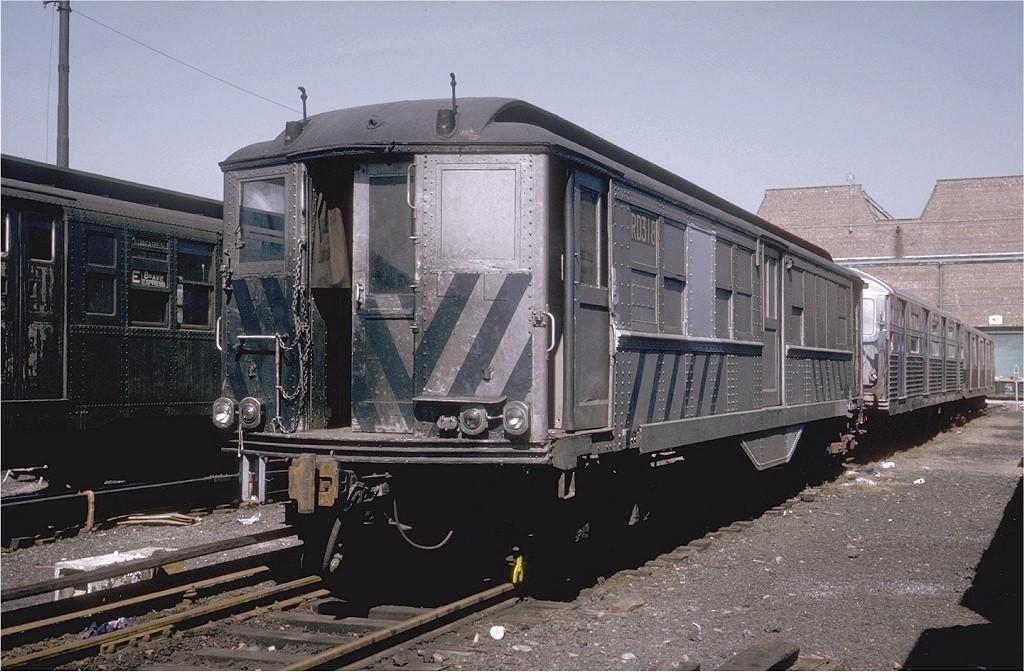 (208k, 1024x672)<br><b>Country:</b> United States<br><b>City:</b> New York<br><b>System:</b> New York City Transit<br><b>Location:</b> Coney Island Yard<br><b>Car:</b> Low-V RD318 (ex-5420)<br><b>Photo by:</b> Steve Zabel<br><b>Collection of:</b> Joe Testagrose<br><b>Date:</b> 3/20/1974<br><b>Viewed (this week/total):</b> 0 / 2276