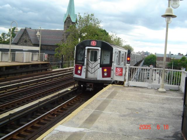 (148k, 640x480)<br><b>Country:</b> United States<br><b>City:</b> New York<br><b>System:</b> New York City Transit<br><b>Line:</b> IRT Pelham Line<br><b>Location:</b> Westchester Square <br><b>Route:</b> 6<br><b>Car:</b> R-142 or R-142A (Number Unknown)  <br><b>Photo by:</b> DeAndre Burrell<br><b>Date:</b> 6/18/2005<br><b>Viewed (this week/total):</b> 1 / 4396