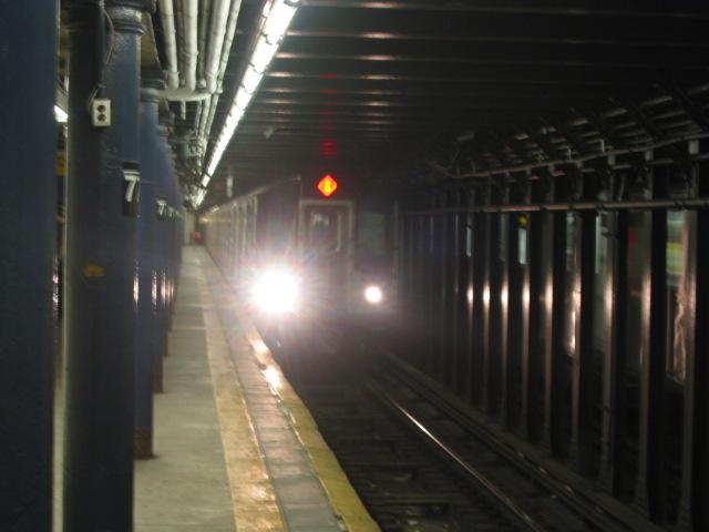 (74k, 640x480)<br><b>Country:</b> United States<br><b>City:</b> New York<br><b>System:</b> New York City Transit<br><b>Line:</b> IRT East Side Line<br><b>Location:</b> 77th Street <br><b>Route:</b> 6<br><b>Car:</b> R-142 or R-142A (Number Unknown)  <br><b>Photo by:</b> Oren H.<br><b>Date:</b> 8/6/2002<br><b>Viewed (this week/total):</b> 0 / 6220