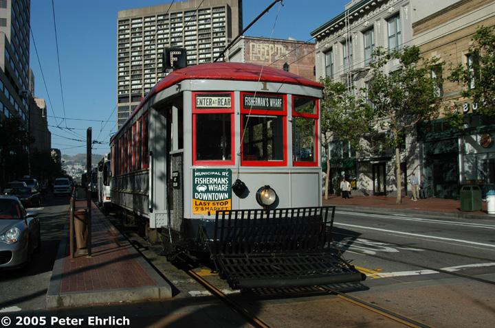 (185k, 720x478)<br><b>Country:</b> United States<br><b>City:</b> San Francisco/Bay Area, CA<br><b>System:</b> SF MUNI<br><b>Location:</b> Market/8th/Hyde/Grove/Civic Ctr. <br><b>Car:</b> SF MUNI A-Type (1912)  1 <br><b>Photo by:</b> Peter Ehrlich<br><b>Date:</b> 5/24/2005<br><b>Notes:</b> Muni A-Type #1 at Market/8th Street inbound.<br><b>Viewed (this week/total):</b> 1 / 802