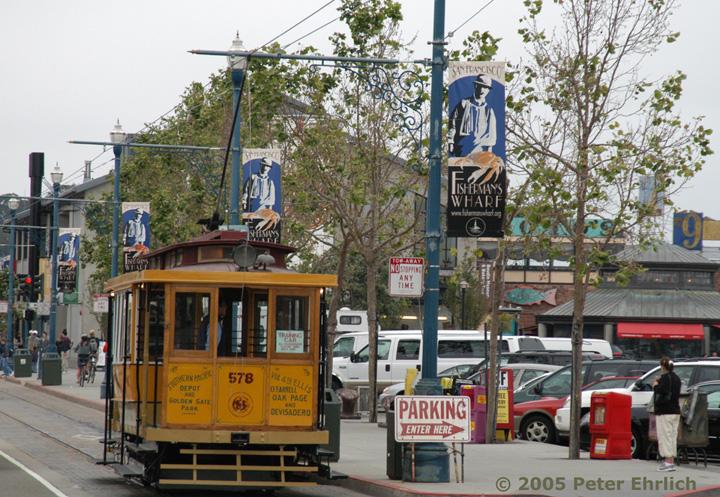 (219k, 720x497)<br><b>Country:</b> United States<br><b>City:</b> San Francisco/Bay Area, CA<br><b>System:</b> SF MUNI<br><b>Location:</b> Jefferson/Powell <br><b>Car:</b> SF Market Street Railway/United Railroads Dinky (Hammond Car Co., 1895)  578S <br><b>Photo by:</b> Peter Ehrlich<br><b>Date:</b> 5/26/2005<br><b>Notes:</b> At Jefferson/Powell inbound.<br><b>Viewed (this week/total):</b> 0 / 692