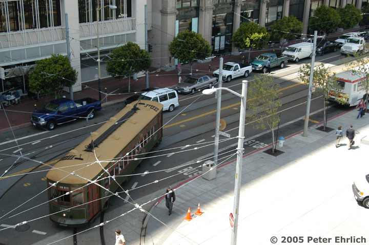 (170k, 720x478)<br><b>Country:</b> United States<br><b>City:</b> San Francisco/Bay Area, CA<br><b>System:</b> SF MUNI<br><b>Location:</b> Steuart/Don Chee Way <br><b>Car:</b> New Orleans Public Service (Perley A. Thomas Car Works, 1924) 952 <br><b>Photo by:</b> Peter Ehrlich<br><b>Date:</b> 4/21/2005<br><b>Notes:</b> At Steuart/Don Chee Way outbound.  View from the roof garden of the Hotel Vitale.<br><b>Viewed (this week/total):</b> 0 / 768