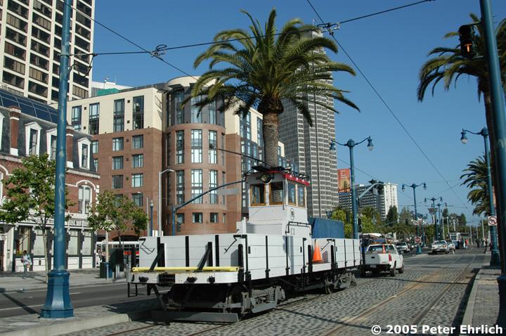(201k, 720x478)<br><b>Country:</b> United States<br><b>City:</b> San Francisco/Bay Area, CA<br><b>System:</b> SF MUNI<br><b>Location:</b> Embarcadero/Mission <br><b>Car:</b> SF MUNI Work Fleet C1 <br><b>Photo by:</b> Peter Ehrlich<br><b>Date:</b> 6/4/2005<br><b>Notes:</b> Work Car C-1--Muni flatbed motor built 1923 with overhead wire and onboard diesel generator for off-wire operational capability.<br><b>Viewed (this week/total):</b> 0 / 633