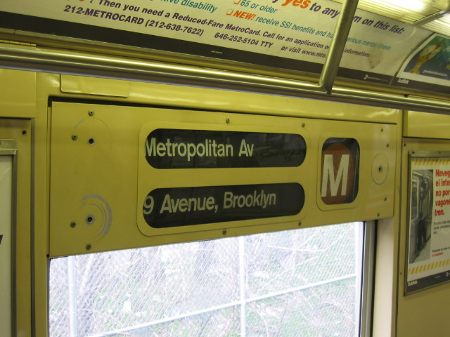 (109k, 640x480)<br><b>Country:</b> United States<br><b>City:</b> New York<br><b>System:</b> New York City Transit<br><b>Route:</b> M<br><b>Car:</b> R-40M (St. Louis, 1969)  Interior <br><b>Photo by:</b> Oren H.<br><b>Notes:</b> Side rollsign.<br><b>Viewed (this week/total):</b> 0 / 2867
