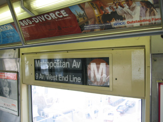 (101k, 640x480)<br><b>Country:</b> United States<br><b>City:</b> New York<br><b>System:</b> New York City Transit<br><b>Route:</b> M<br><b>Car:</b> R-42 (St. Louis, 1969-1970)  Interior <br><b>Photo by:</b> Oren H.<br><b>Notes:</b> Side rollsign.<br><b>Viewed (this week/total):</b> 1 / 2351