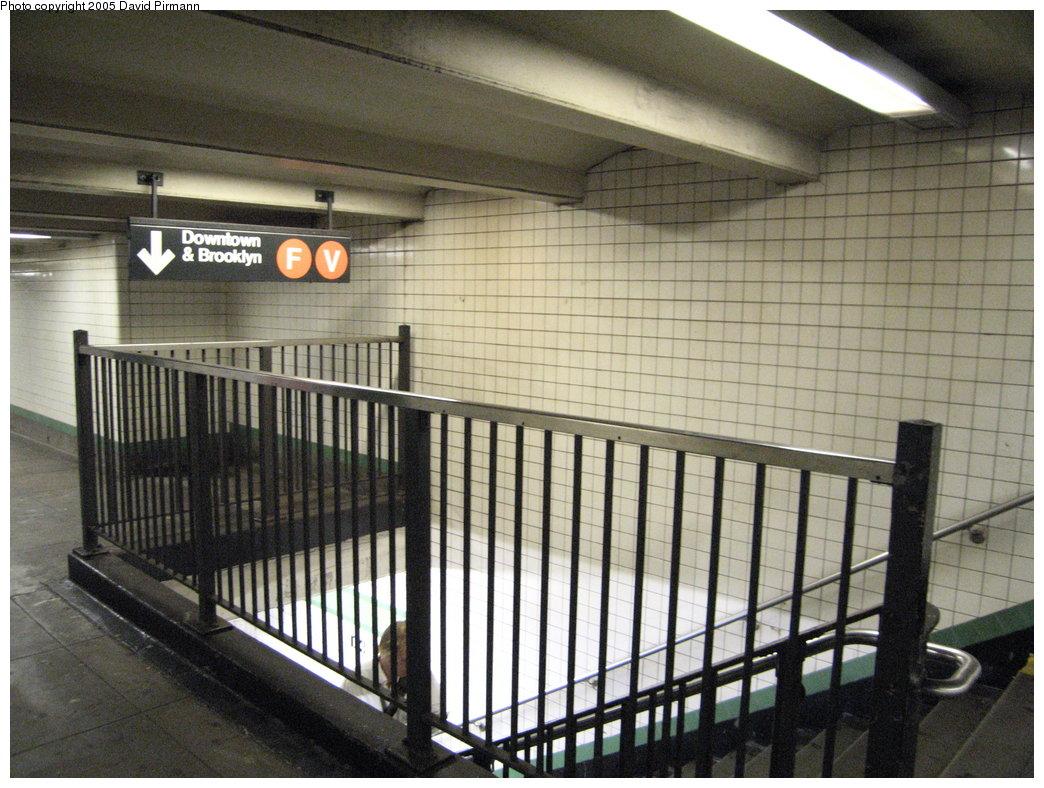 (206k, 1044x788)<br><b>Country:</b> United States<br><b>City:</b> New York<br><b>System:</b> New York City Transit<br><b>Line:</b> IND 6th Avenue Line<br><b>Location:</b> 14th Street <br><b>Photo by:</b> David Pirmann<br><b>Date:</b> 6/30/2005<br><b>Notes:</b> Stair to southbound platform<br><b>Viewed (this week/total):</b> 1 / 3497