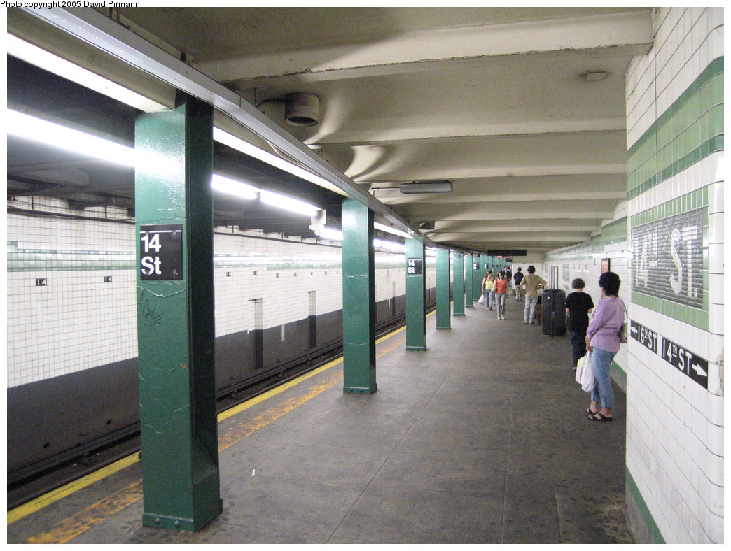 (195k, 1044x788)<br><b>Country:</b> United States<br><b>City:</b> New York<br><b>System:</b> New York City Transit<br><b>Line:</b> IND 6th Avenue Line<br><b>Location:</b> 14th Street<br><b>Photo by:</b> David Pirmann<br><b>Date:</b> 6/30/2005<br><b>Notes:</b> Southbound platform<br><b>Viewed (this week/total):</b> 0 / 3363